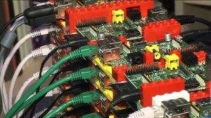 A photo of the Southampton University Raspberry Pi Cluster.
