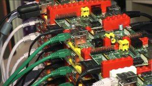A photo of the Southampton University Raspberry Pi Cluster.